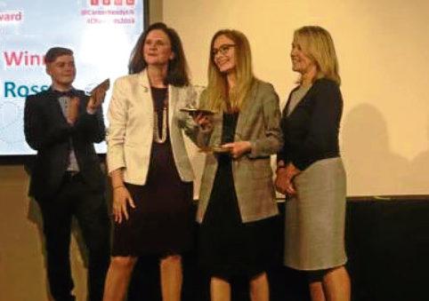Elgin High pupil Kiara Ross receives  her award as UK Career Ready Student of the Year