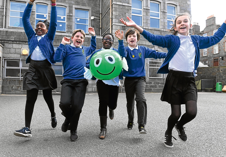 Ferryhill Primary pupils Amy Edremoda, Lachlan McClarence, Phebe Saforo, Toby Slane and Hannah Wheeler
