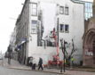 The artist known as Phlem is painting on the wall at the junction of Union Street and Holburn Street as part of Nuart 2108.
