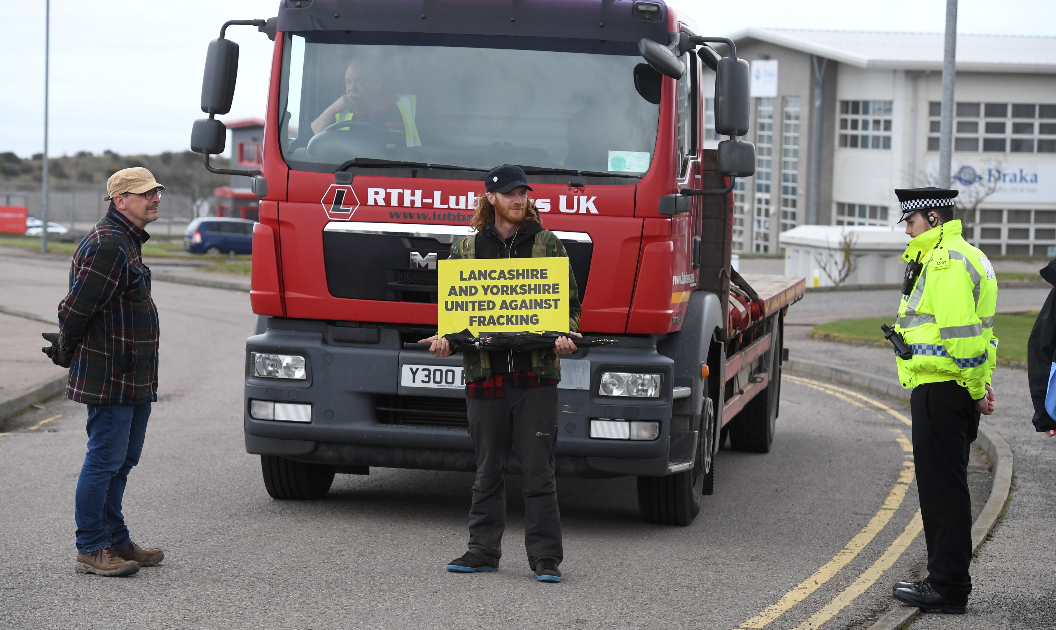 Protestors at the site in Aberdeen.