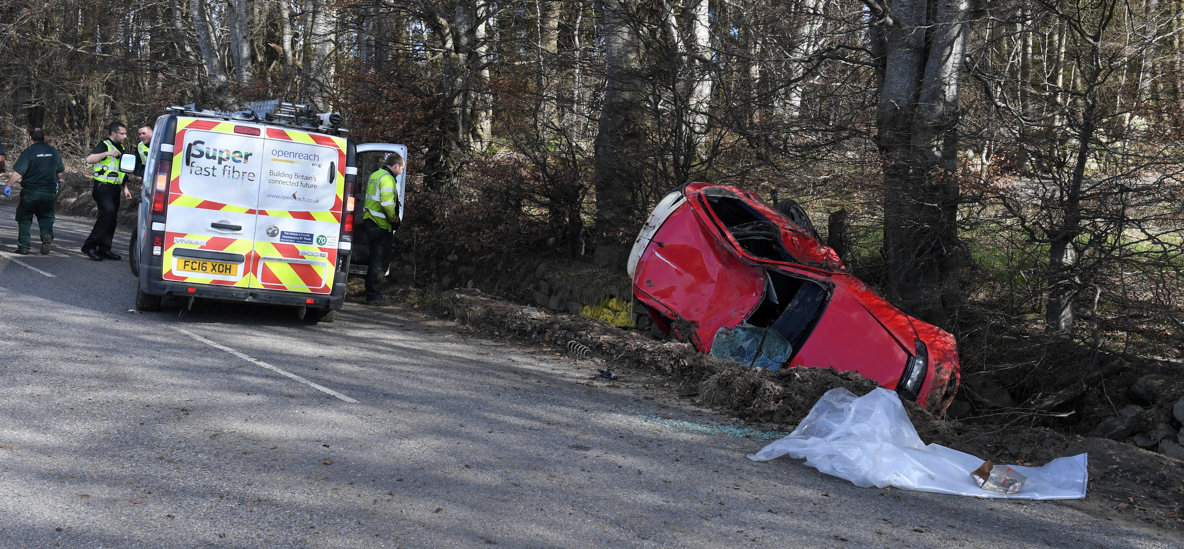 The scene of the crash on South Deeside Road