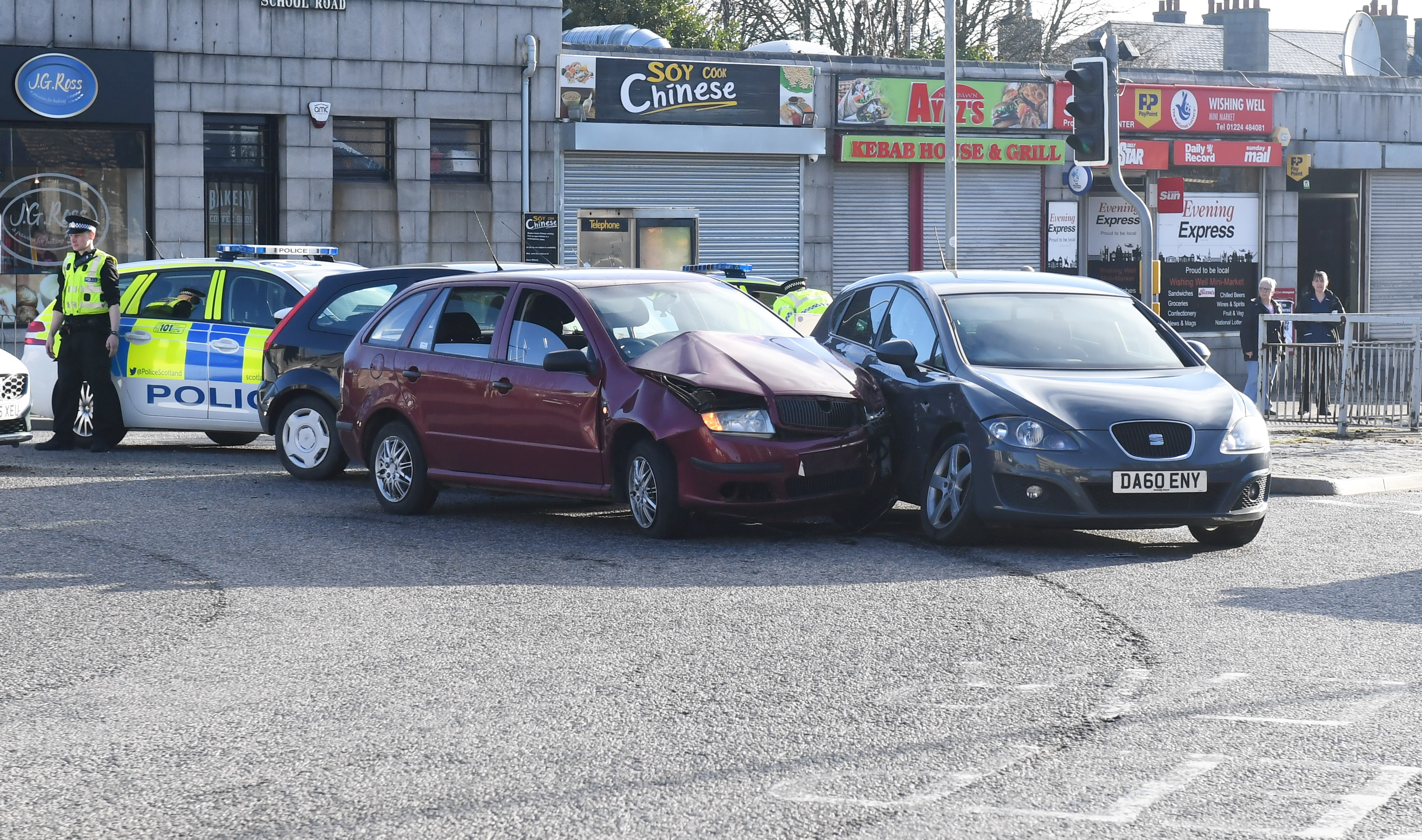 Motorists faced delays after the three-car crash at the St Machar roundabout.