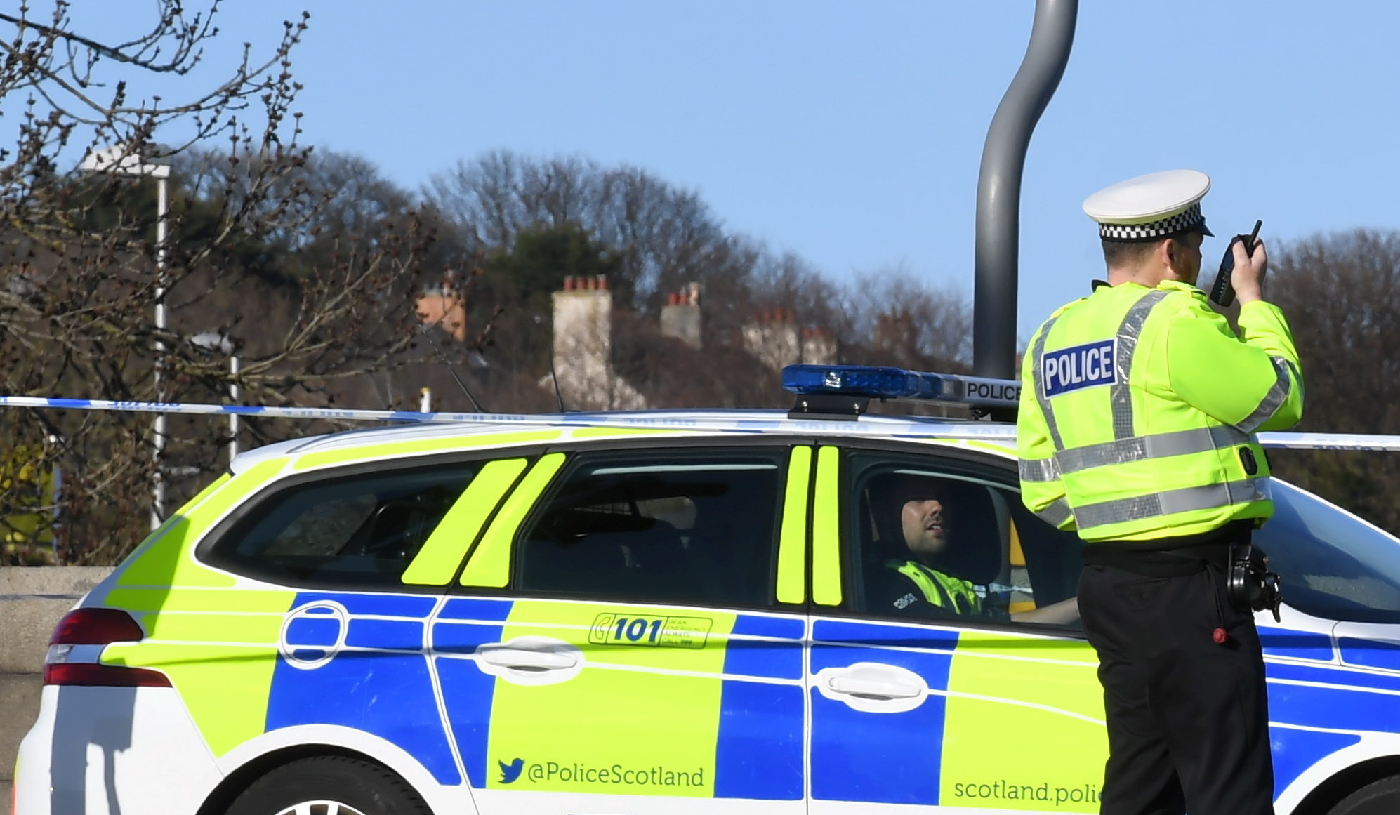 Police at the scene of the accident on Wellington Road