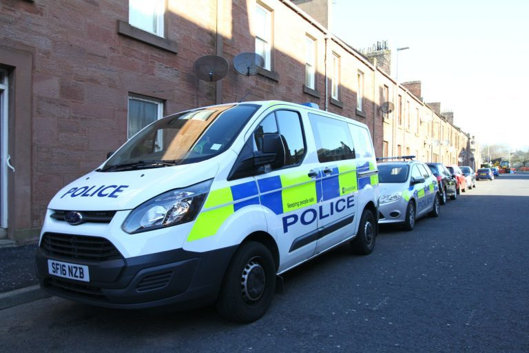 Police remained at the scene in St Vigeans Road on Monday