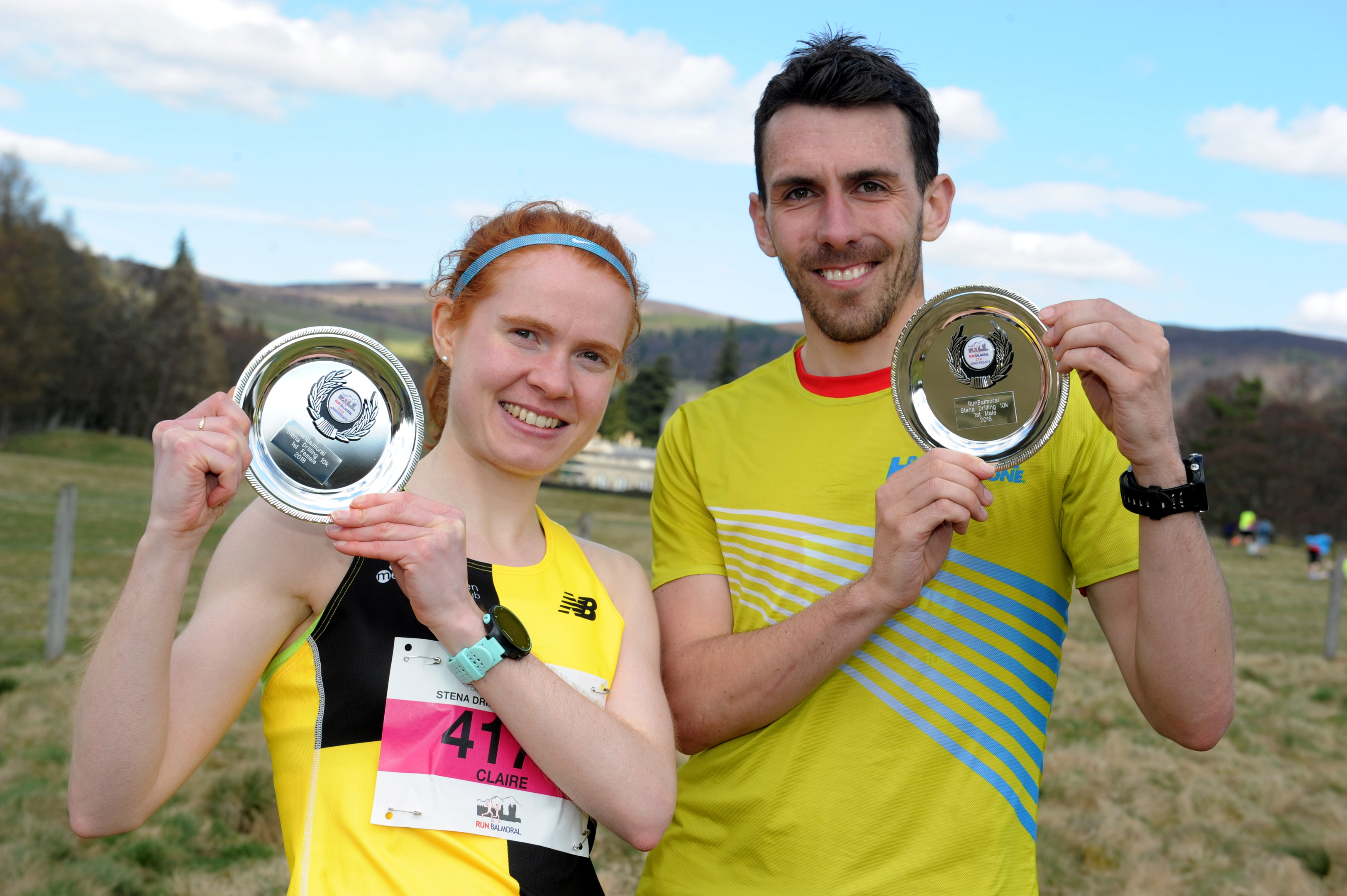 10K winners Claire Bruce and Andrew Douglas.