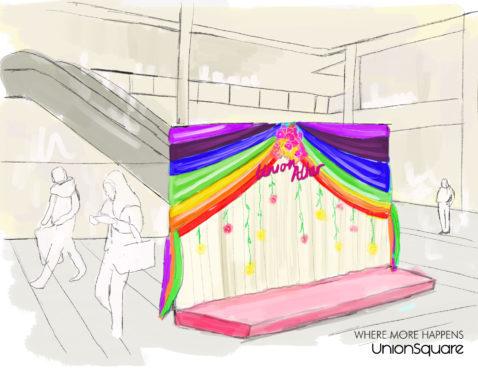 An artist's impression of the pop-up wedding altar.