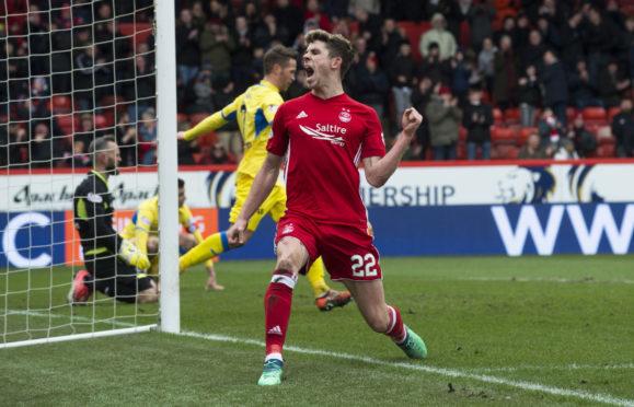Aberdeen's Ryan Christie celebrates the opening goal to make it 1-0.