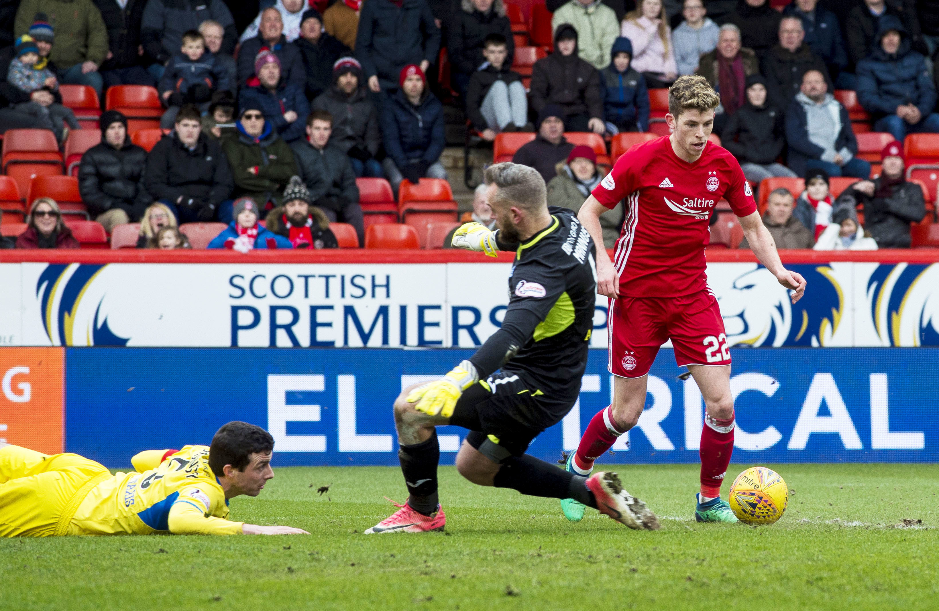 Aberdeen's Ryan Christie rounds the goalkeeper to score and make it 1-0 against St Johnstone.