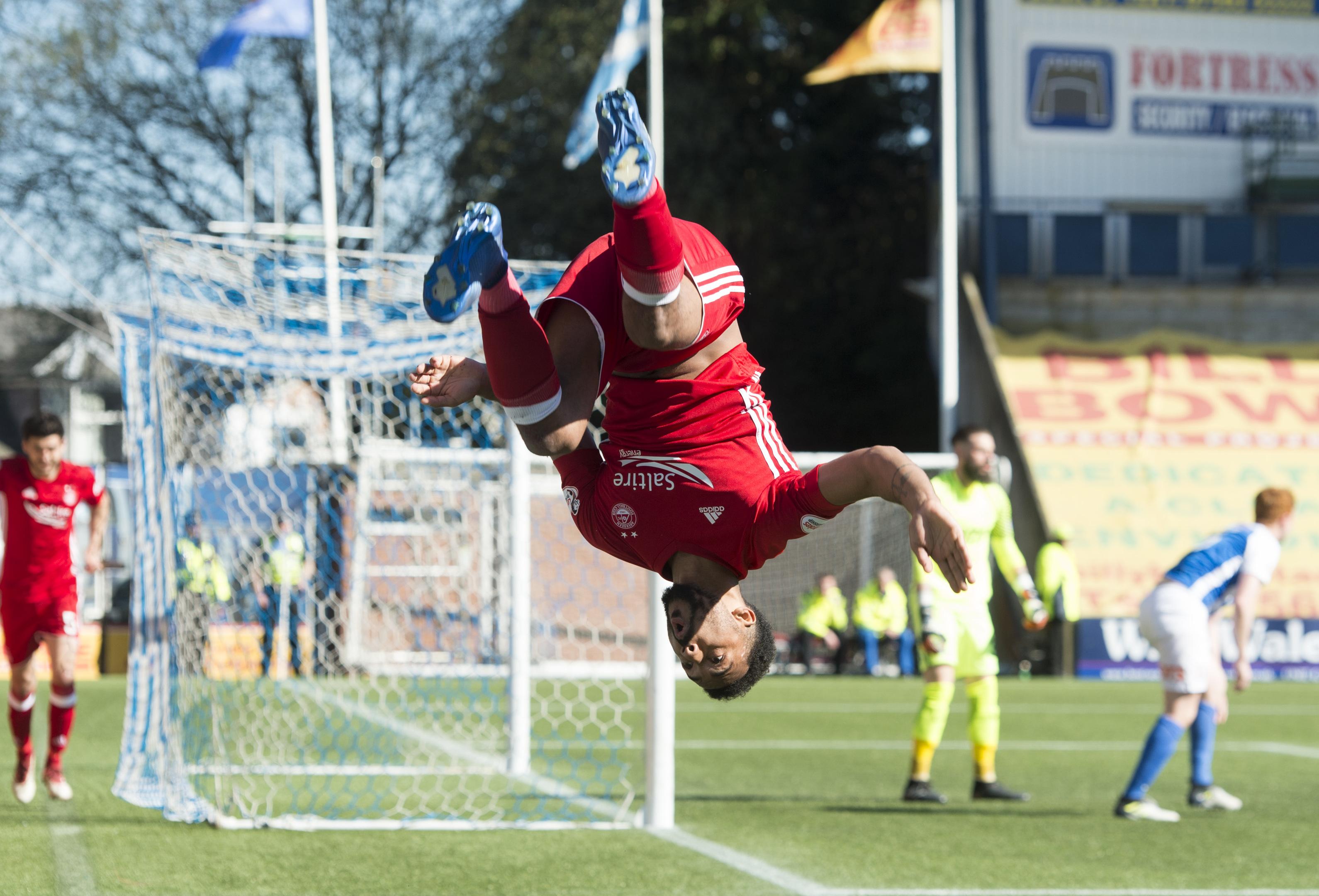 Aberdeen's Shay Logan celebrates making it 2-0 against Kilmarnock.