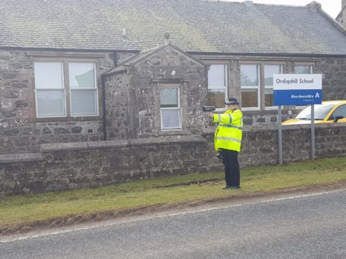 Pc Demi Beattie who took part in an anti-speeding operation at Ordiquhill Primary School in Gordonstown on Friday