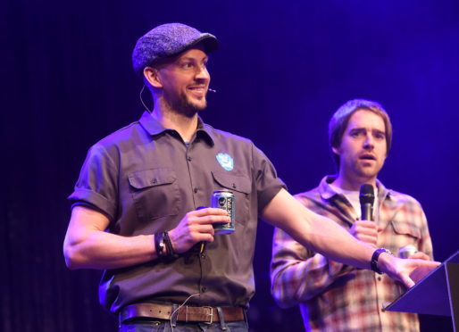 Founders James Watt and Martin Dickie speaking at last year's Brewdog AGM at the AECC.