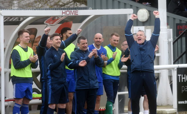 The Cove dugout with manager John Sheran celebrating at full time as Cove win the league. Picture by Darrell Benns