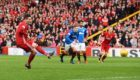 Aberdeen's Kenny McLean scores a penalty to make it 1-0.