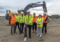 The Provost of Aberdeenshire, Ciouncillor Bill Howatson, took part in a traditional 'sod cutting' ceremony to signify the formal start of construction.