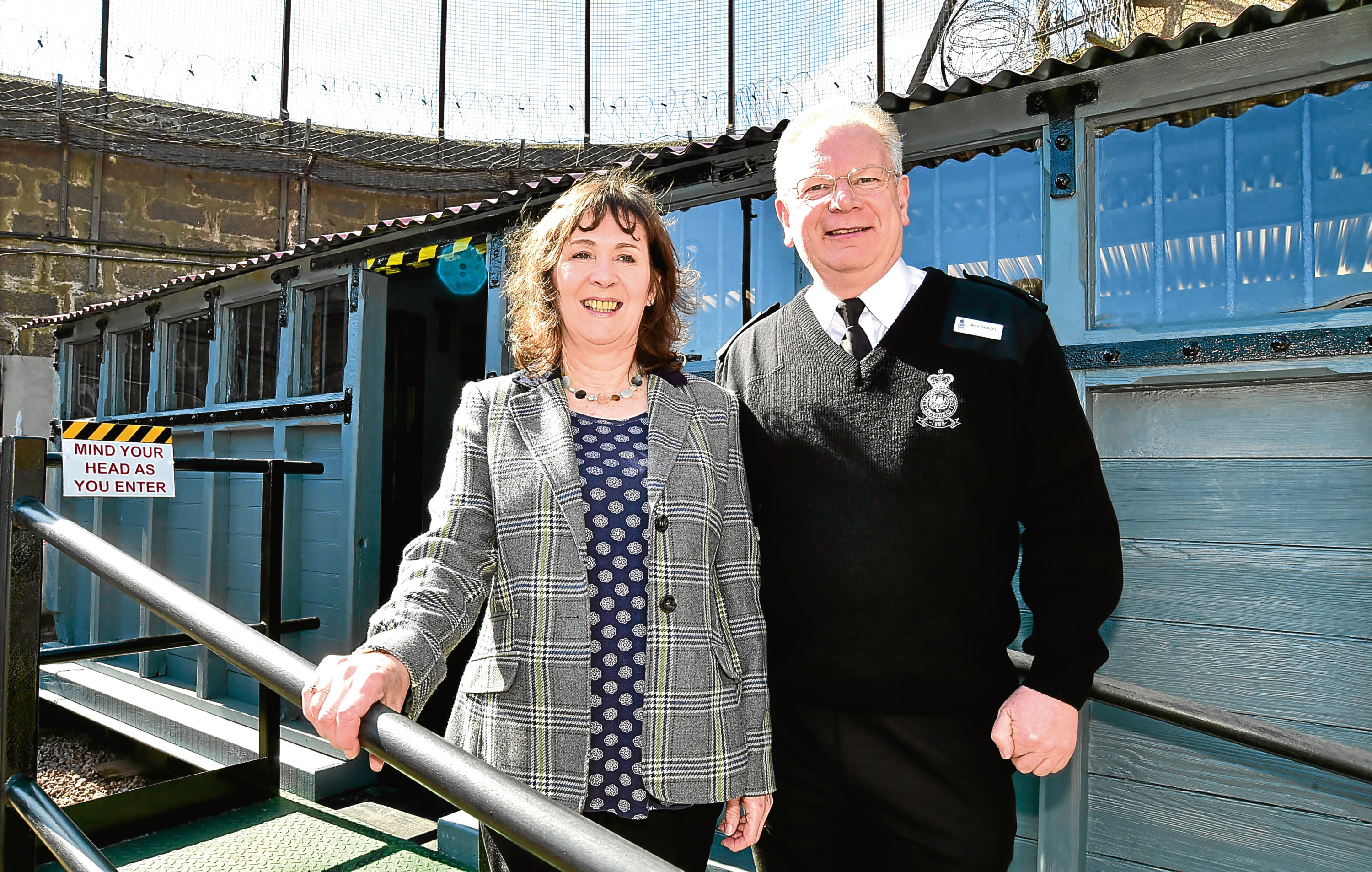 Alison Clark with operations manager Alex Geddes at the new prisoner carriage exhibit at the Peterhead Prison Museum.