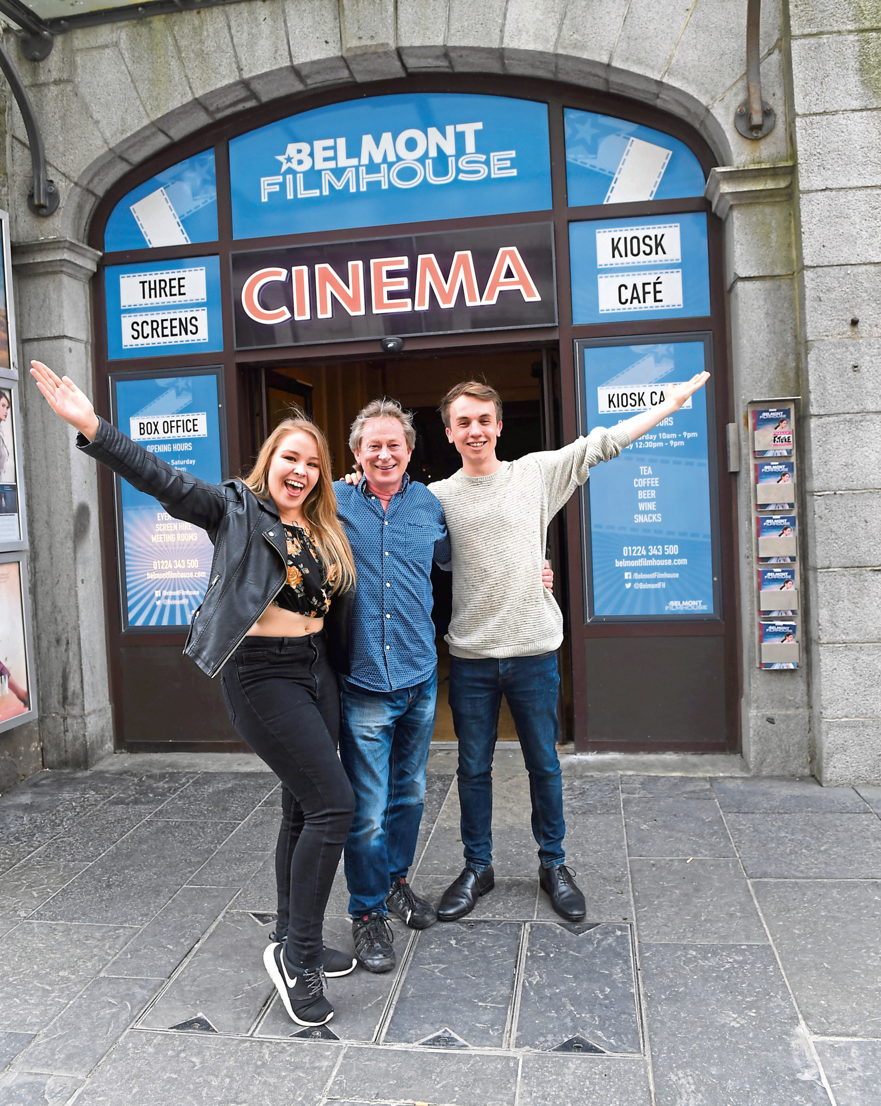 From left, media student Katie Low with the stars of her film Alec Westwood and Ronan Doyle outside the Belmont Filmhouse.