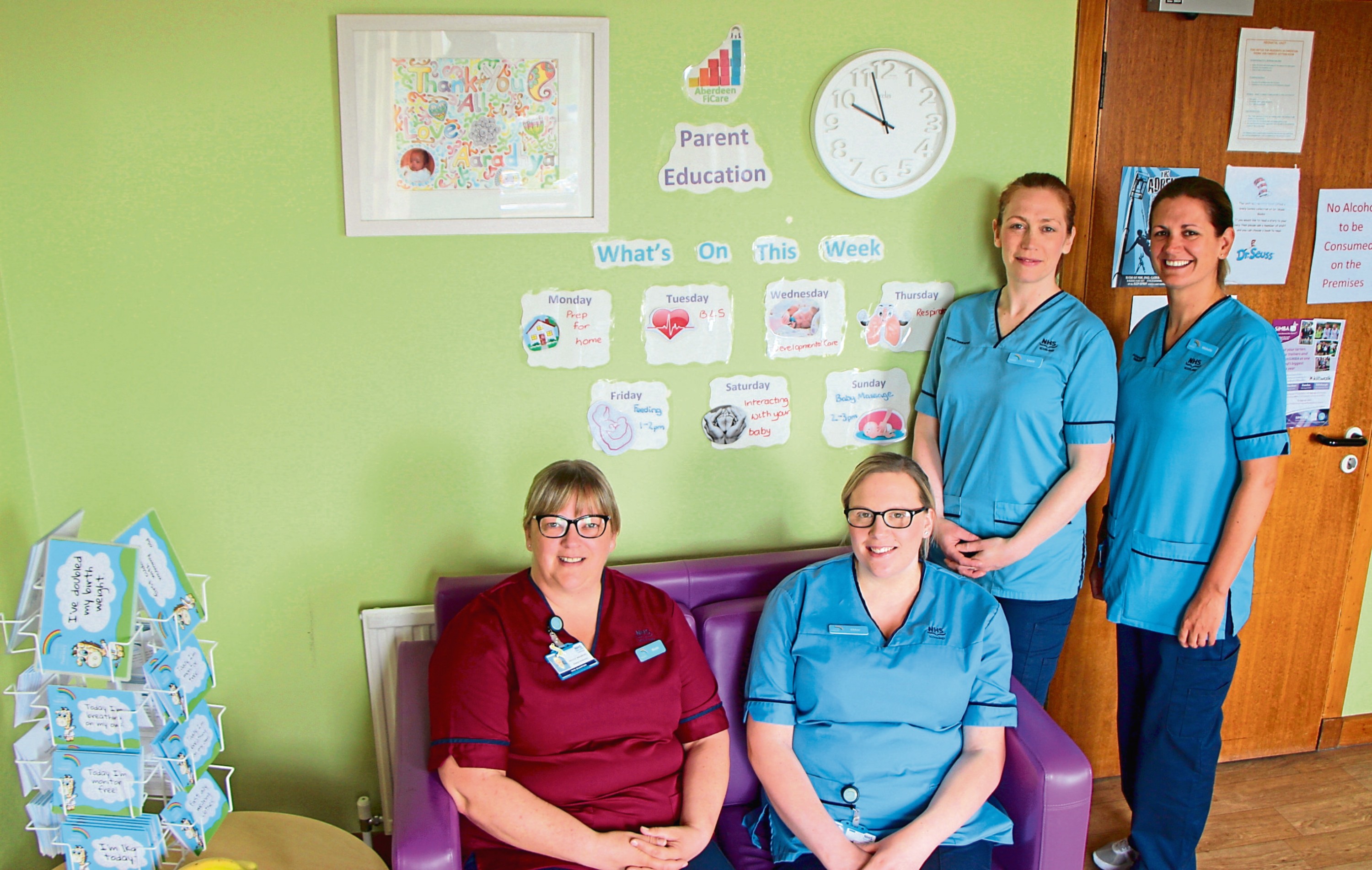 Nicole Bauwens, left, with neonatal team members Chloe Shevill, Laura Angus and Michelle McKay.