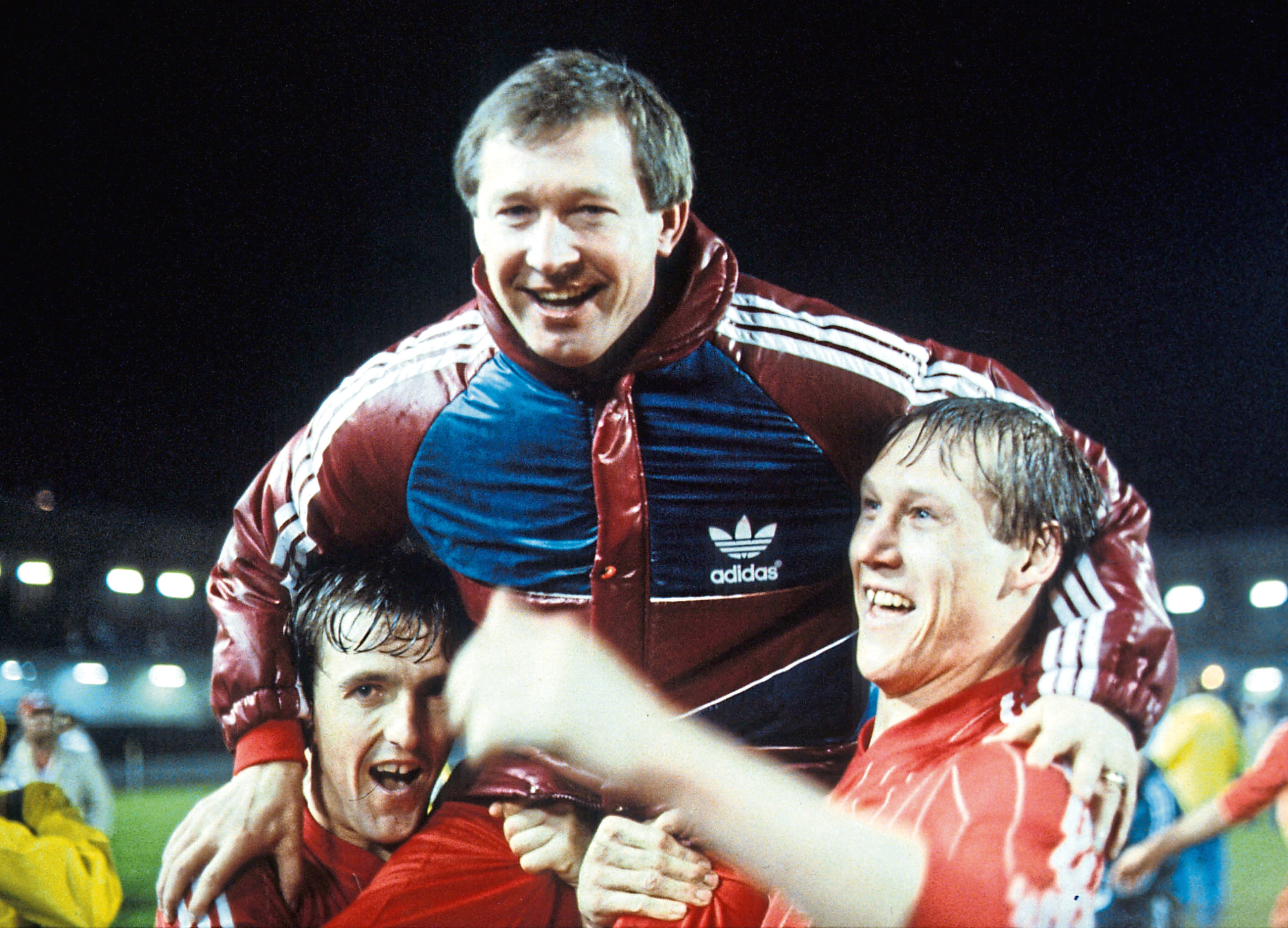 Alex Ferguson is held high by his players after the Dons beat Real Madrid 2-1 in the European Cup Winners Cup Final