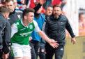 Aberdeen manager Derek McInnes and his bench are enraged after a tackle from Hibernian's John McGinn, left, on Aberdeen's Gary Mackay-Steven.