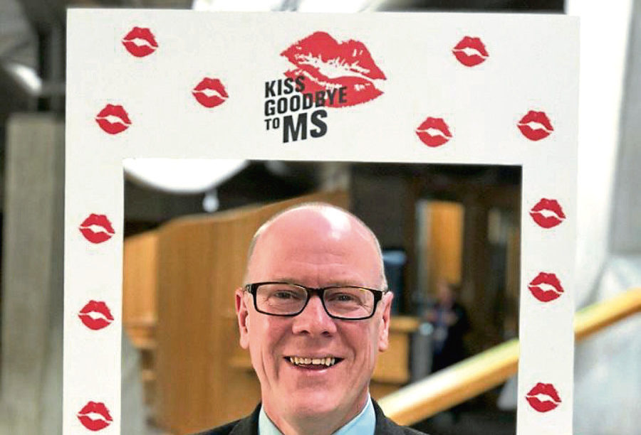 MSP Kevin Stewart taking part in Kiss Goodbye to MS.