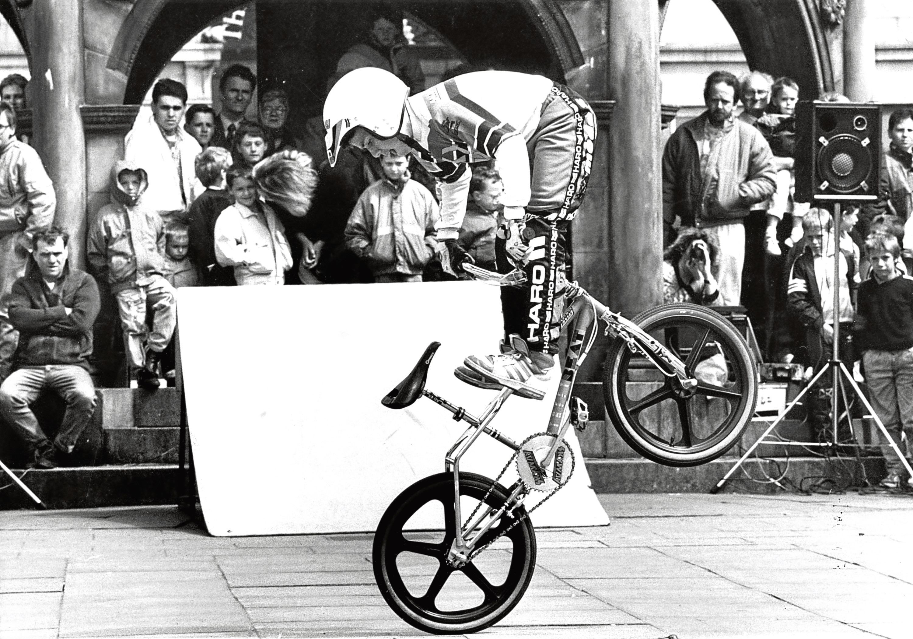 Aberdeen's Castlegate played host to some exciting entertainment, shown here is 10-year-old Brian Henderson a member of the Skyway BMX World Championship Team, going through his paces.