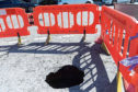 The sink hole at the Union Grove / Albyn Grove junction
