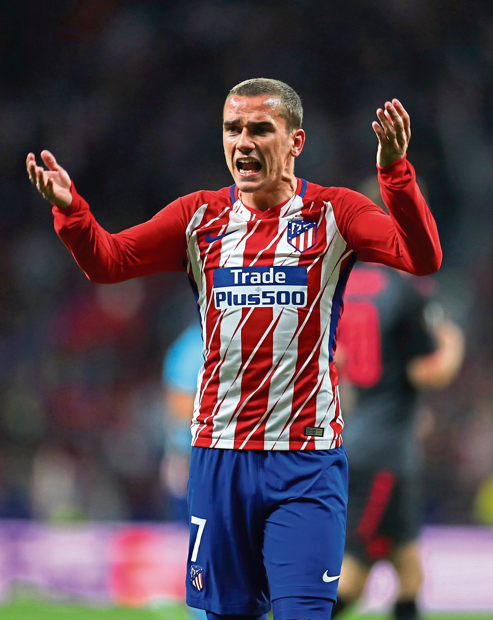 MADRID, SPAIN - MAY 03: Antoine Griezmann of Atletico Madrid during the UEFA Europa League Semi Final second leg match between Atletico Madrid  and Arsenal FC at Estadio Wanda Metropolitano on May 3, 2018 in Madrid, Spain. (Photo by Catherine Ivill/Getty Images)