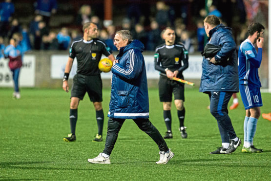 Peterhead Manager Jim McInally was dejected at full time at Ochilview Park after the 2-0 loss to Stenhousemuir.