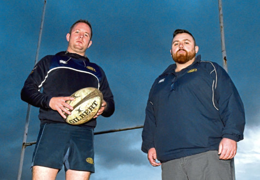 Garioch Rugby Club, Inverurie -  Captain Sean Low (left) and Coach Dave Duguid. (PS Rob Bly was at a wedding). Picture by COLIN RENNIE  October 3, 2017.