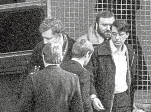 Nilsen, right, leaving Highgate Magistrates Court where he was charged with the murder of Stephen Sinclair