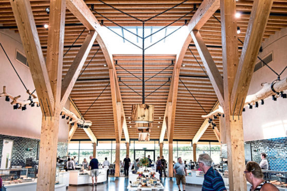 Image shows Gloucester Services which has been used as inspiration for the proposals for roadside services at Luthermuir  ©Westmoorland Limited