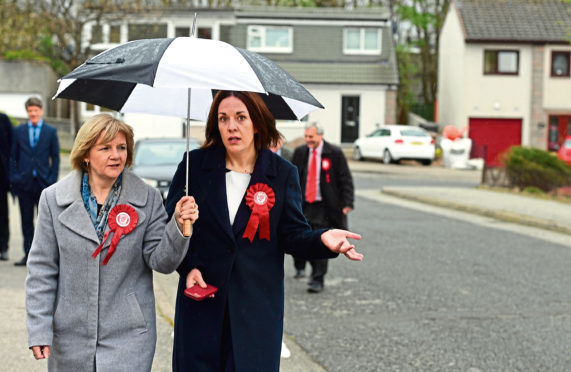 Councillor Jenny Laing with former Scottish Labout leader Kezia Dugdale in Aberdeen before the election