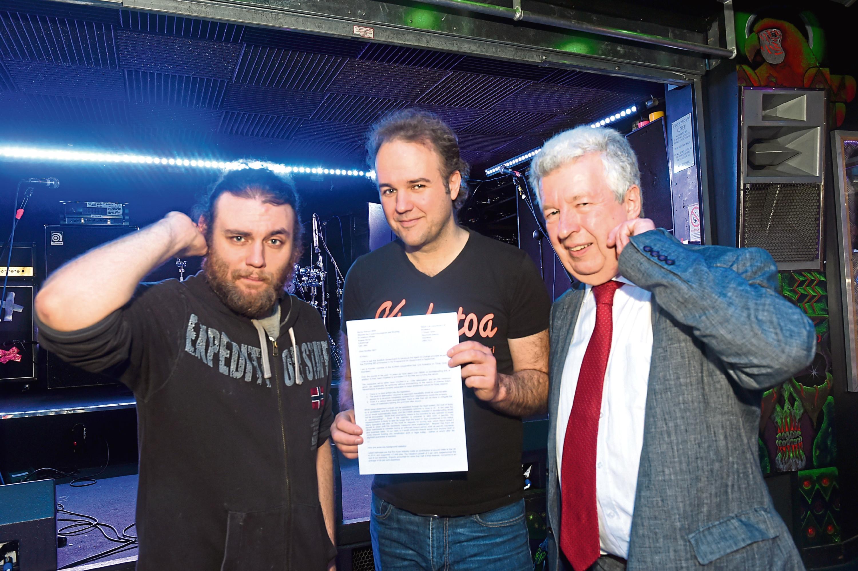 From left, Jamie Peter, Craig Adams, of live music venue Krakatoa and Lewis Macdonald MSP