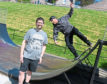 Banchory Skatepark Group Bruce Skinner, left, and Russ Crichton, chairman of the group, using the existing ramp