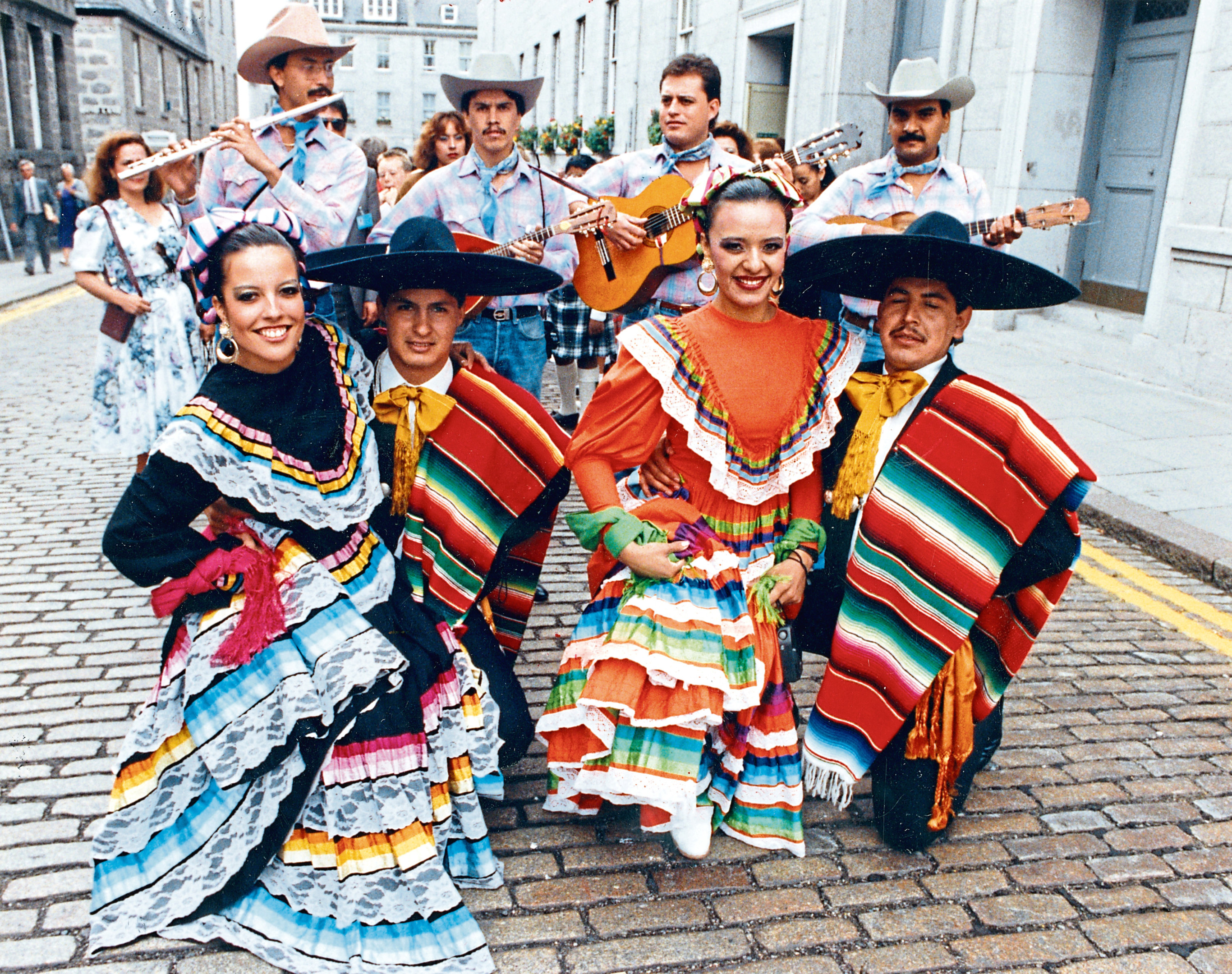 """Aberdeen International Youth Festival 1990-08-08_05 (C)AJL Used EE 26.07.1991, Used P&J 09.08.1990 """"Ballet Folkorico Universidad de Chihuahua from Mexico in their colourful dance costumes [outside the Music Hall on South Silver Street, Aberdeen]."""""""