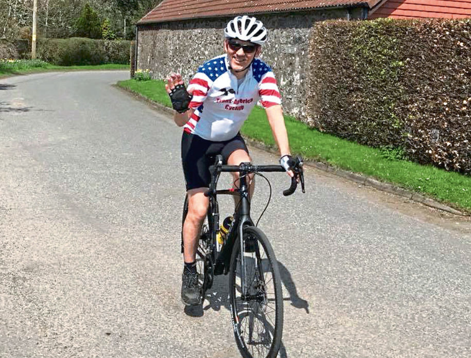 Alan Corsie who almost died when he was struck by a vehicle on a trans American cycle is back on a bike