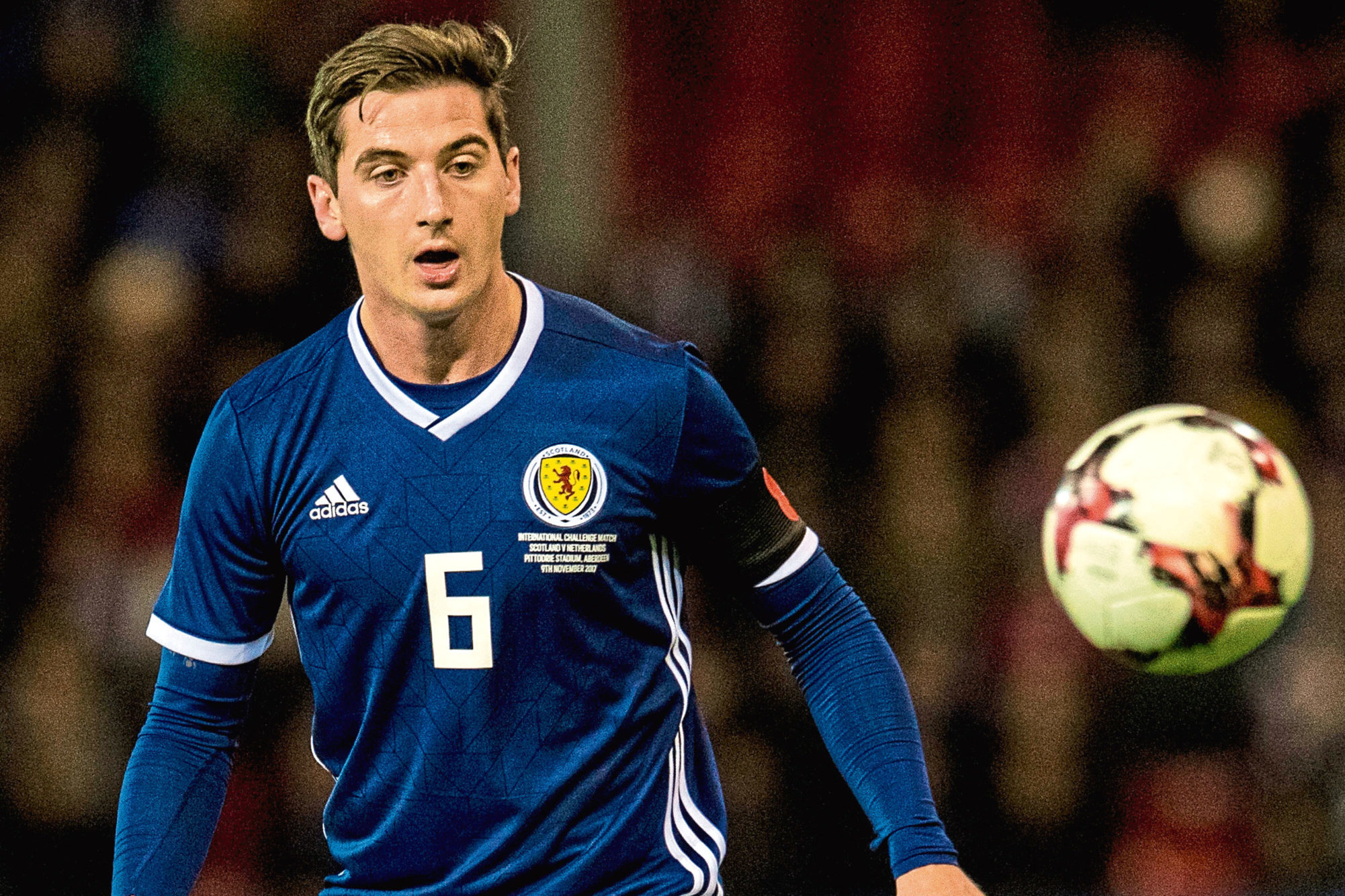 Kenny McLean in action for Scotland.