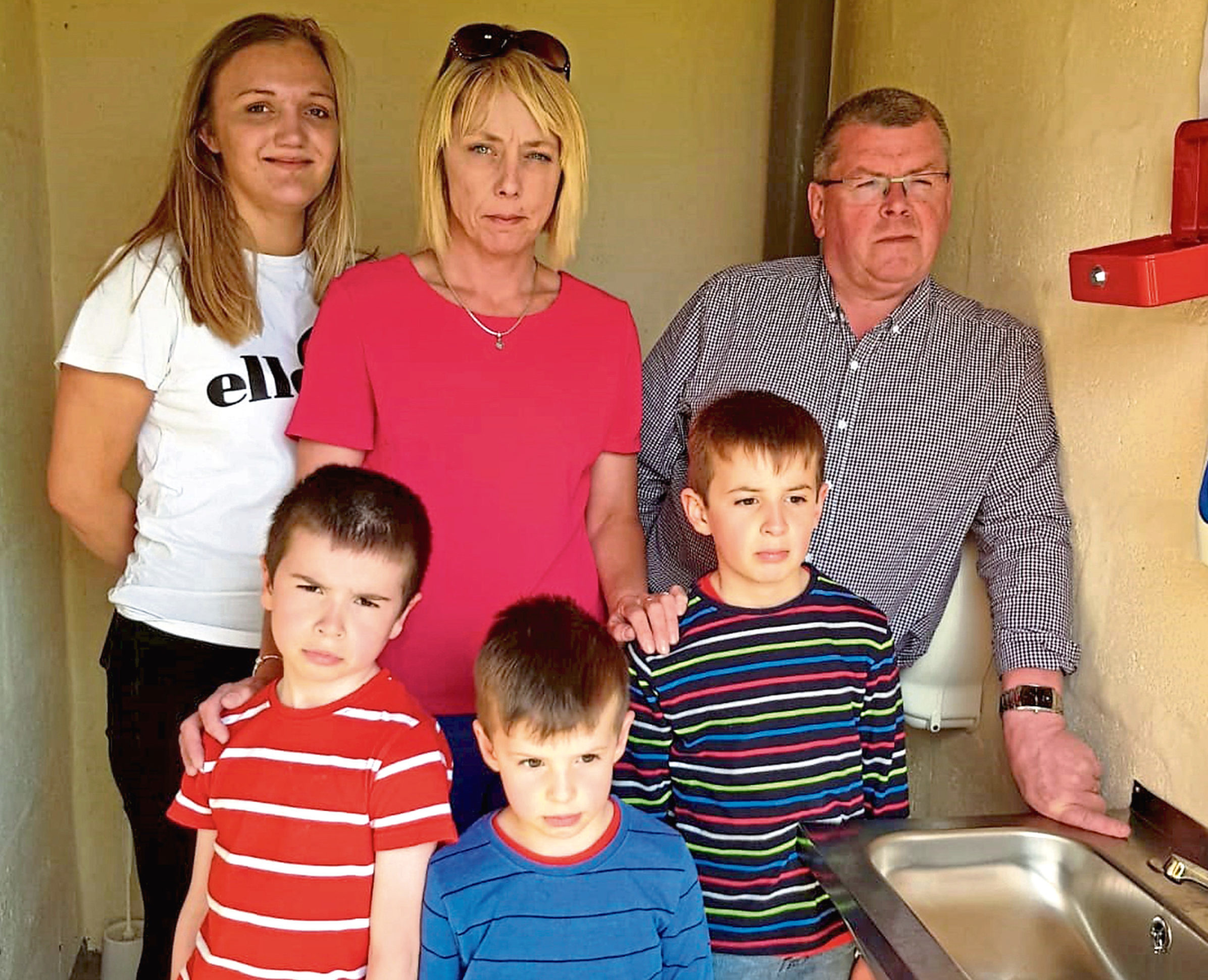 Children Thomas, Jack and Harry Bruce with the committee's Jayde Bruce, Sonia Pirie and James Milne