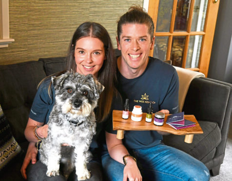Rebecca and Calum Napier with dog Mylo