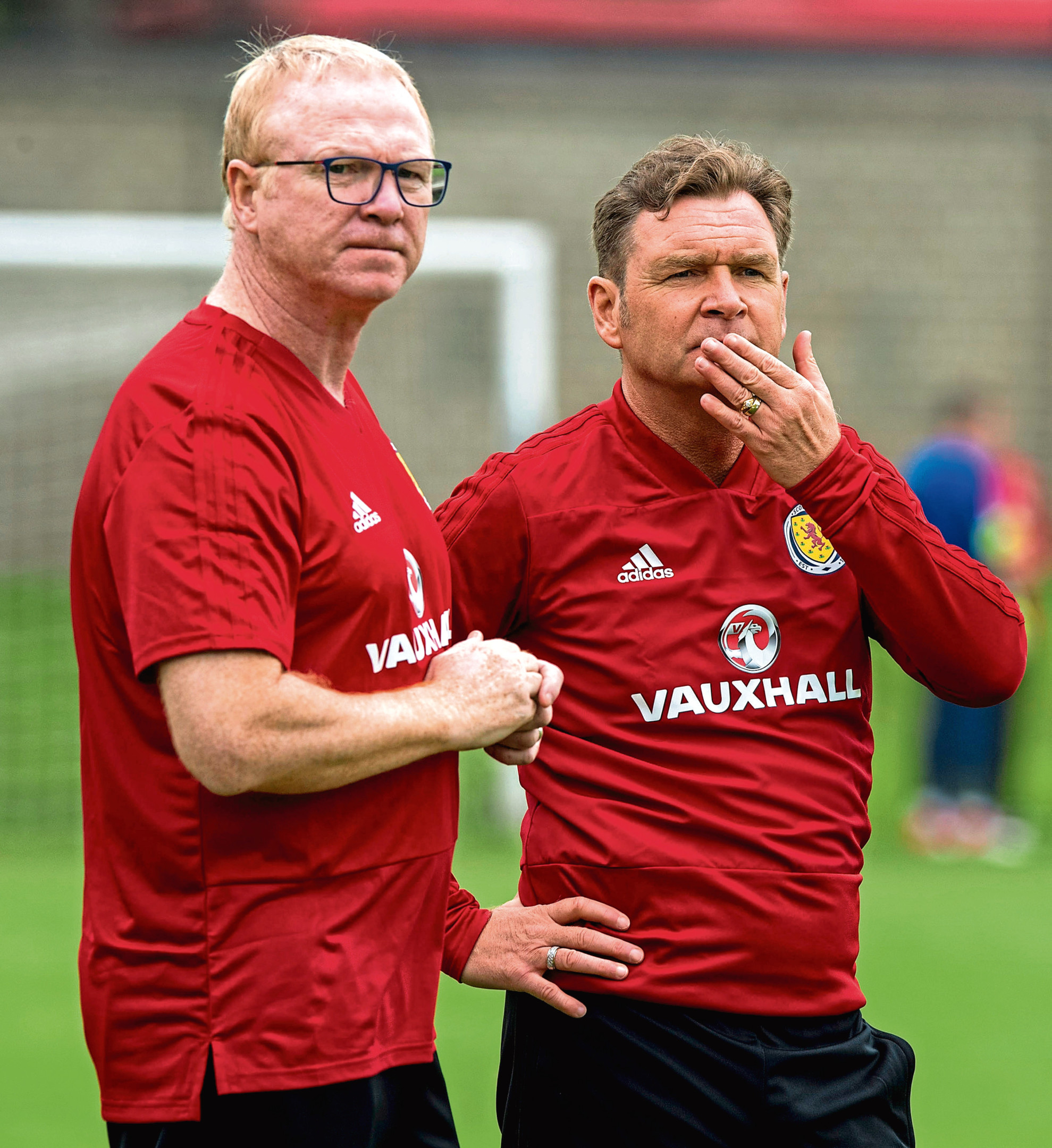 Scotland Manager Alex McLeish and Assistant Peter Grant (right).