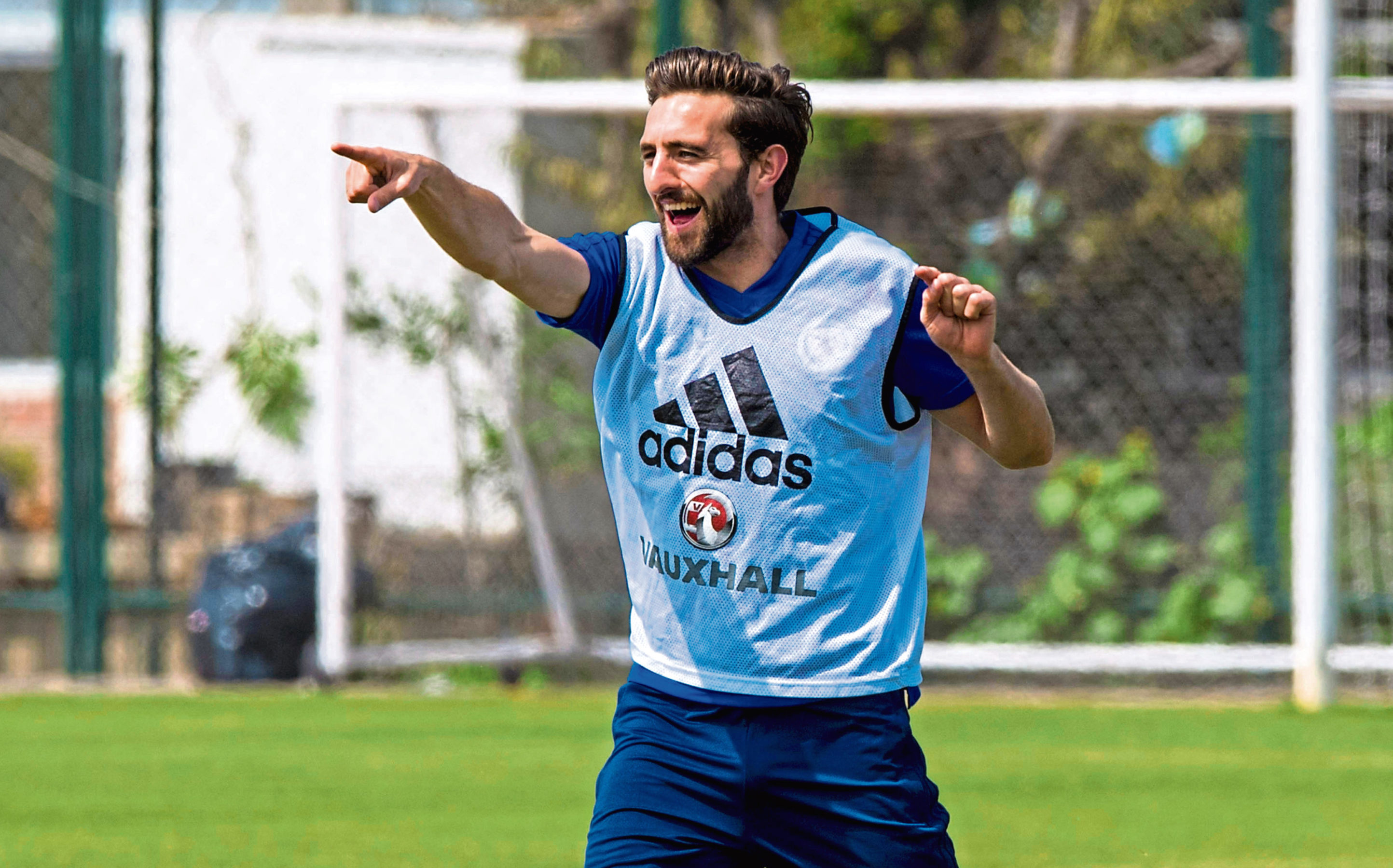Graeme Shinnie in training with Scotland over the summer.