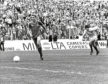 Neale Cooper racing away from stranded Gers keeper Jim Stewart to score.