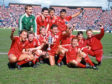 The Aberdeen players celebrate winning the Scottish Cup in 1986