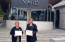 Anne Stevenson and Dr Moria Bailey outside Scotland Yard