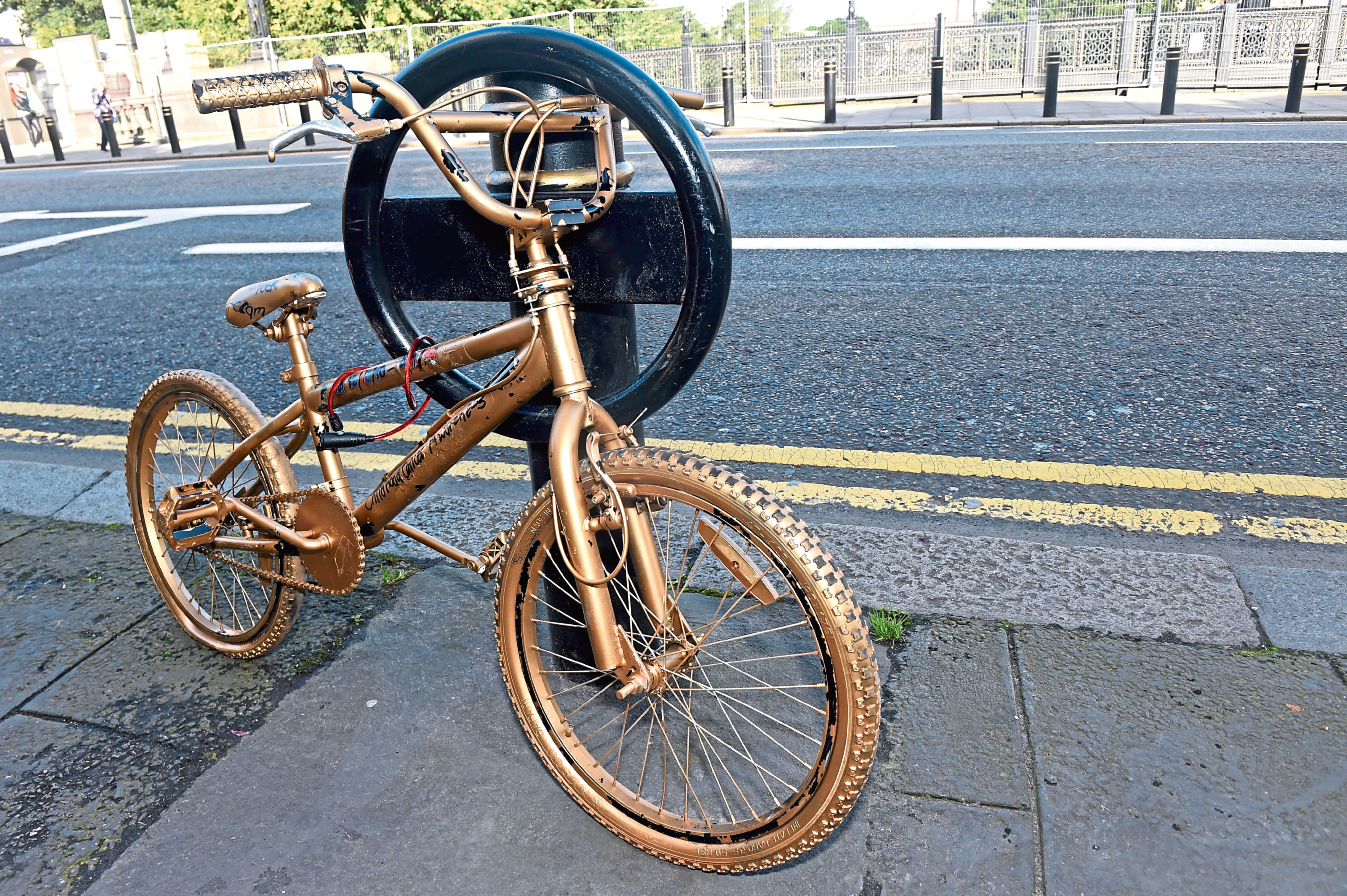 One of the bikes on Union Street as part of the Glow Gold for September.