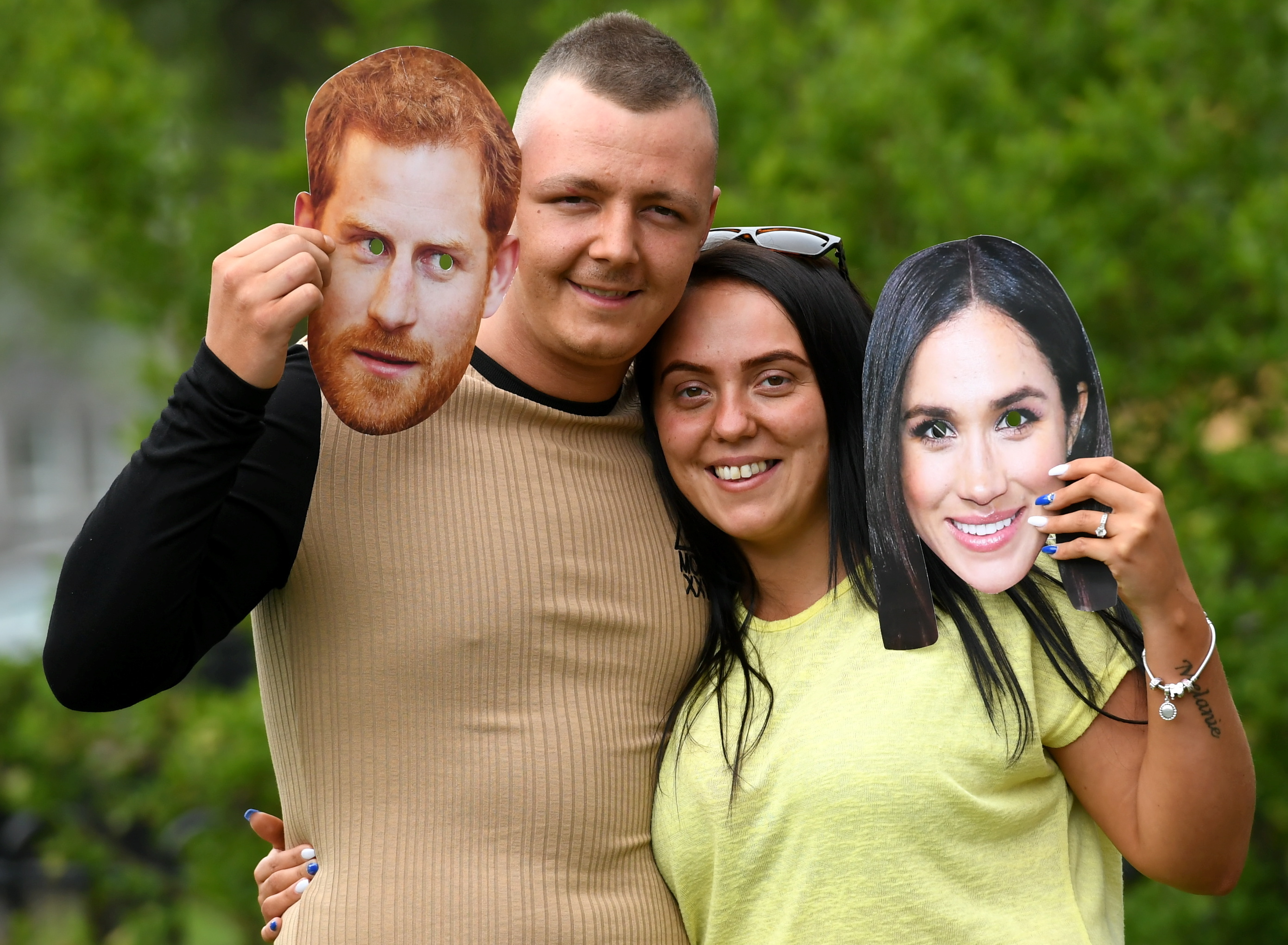 Jordan Thomson and Melaine Adams who are getting married on Saturday, the same day as Harry and Meghan.