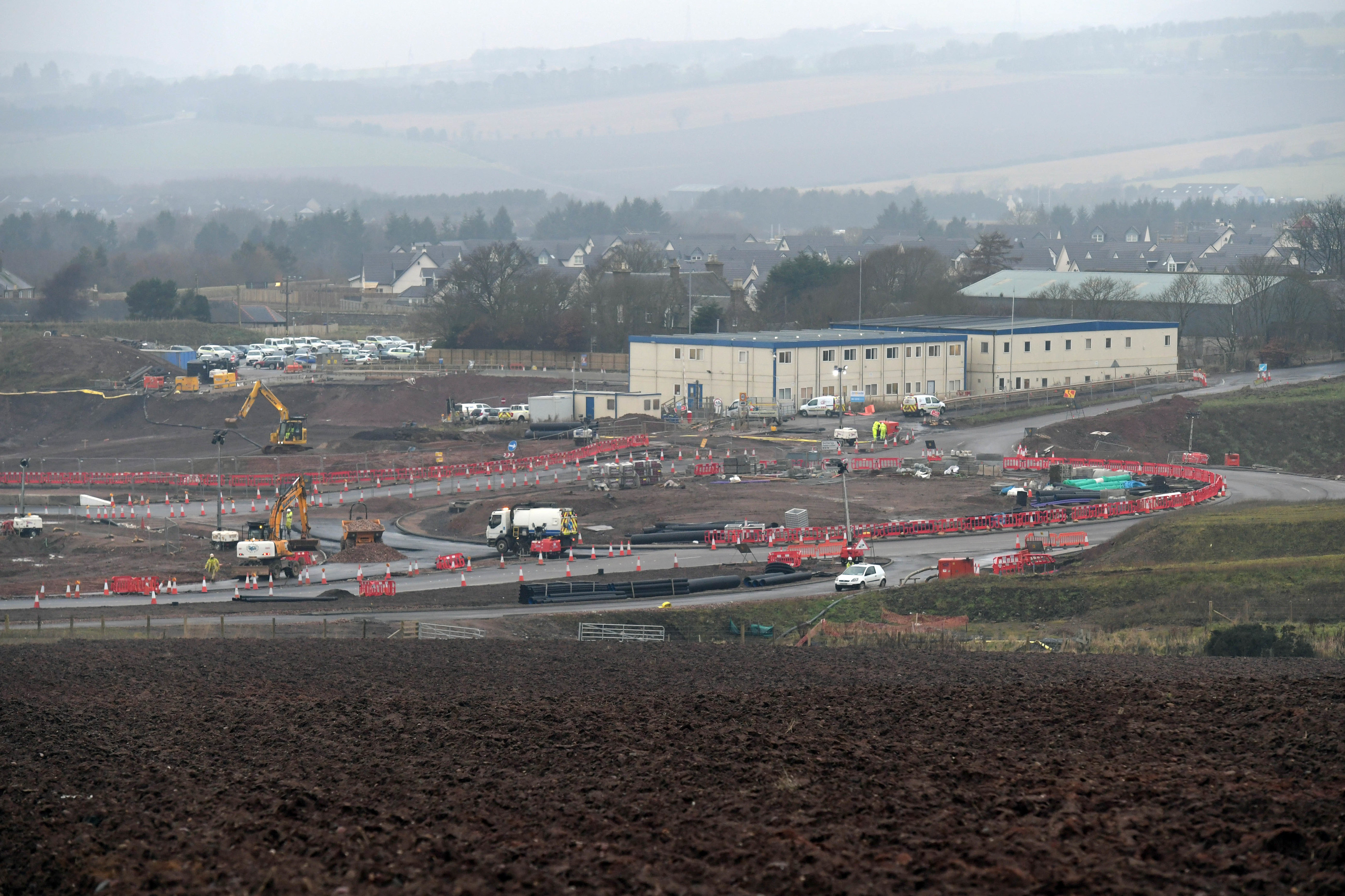 The new roundabout connecting the A90, B979 and Aberdeen bypass.