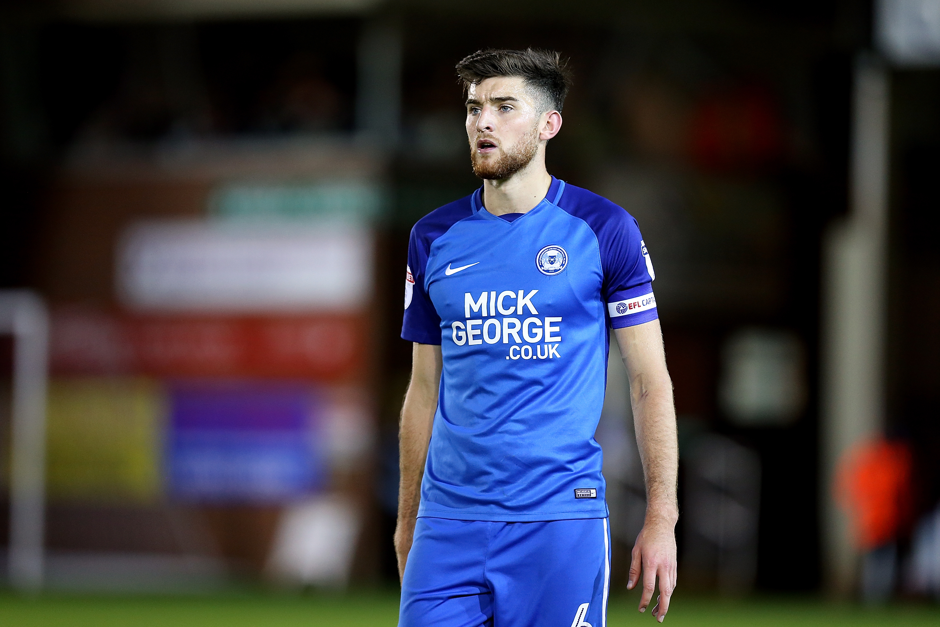 Jack Baldwin of Peterborough United in action during the Checkatrade Trophy match between Peterborough United and Northampton Town at The Abax Stadium on October 3, 2017 in Peterborough, England.