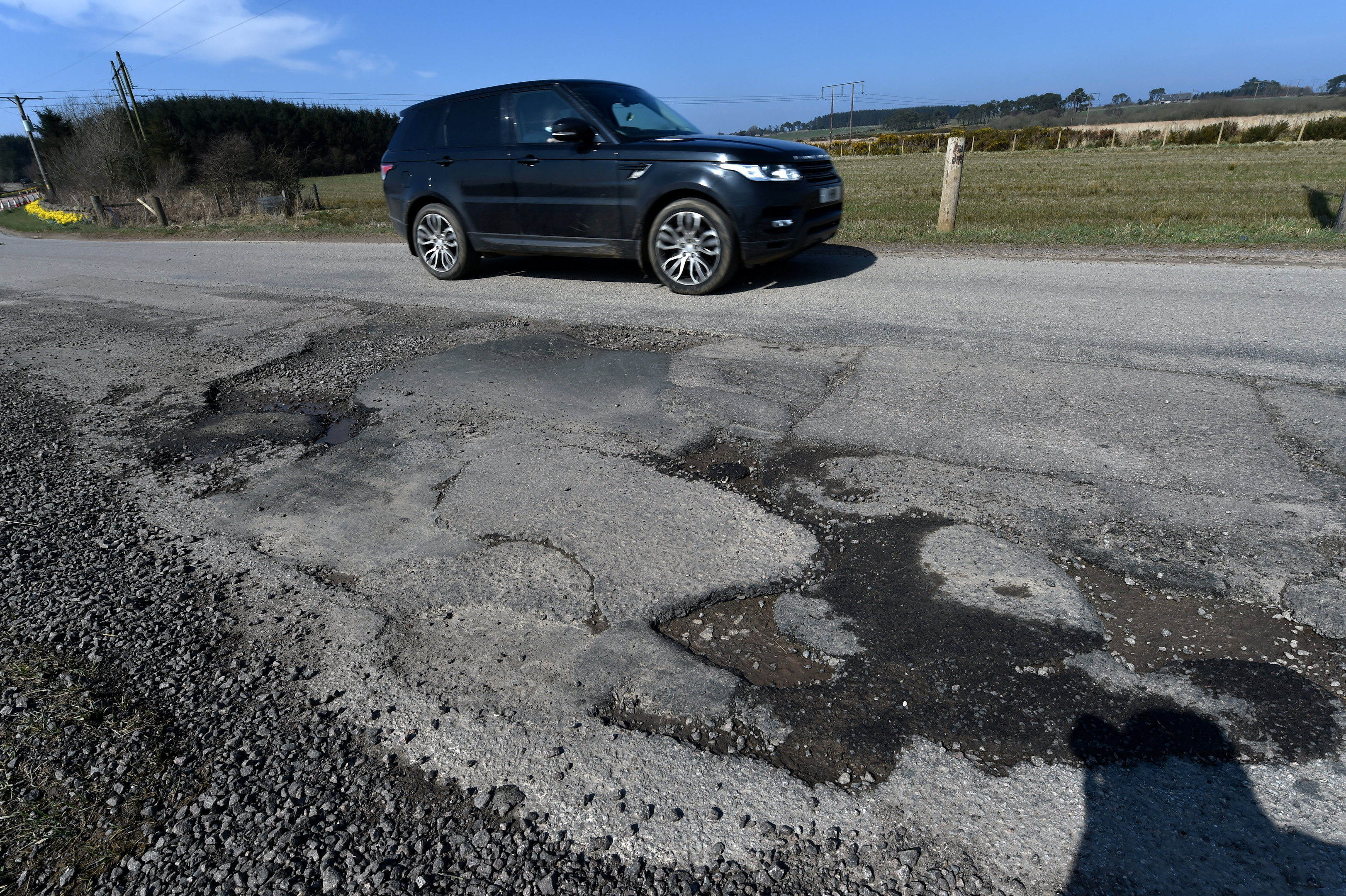 Just some of the potholes on the B979 Netherly road.