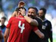 Aberdeen manager Derek McInnes celebrates with Andrew Considine, left.